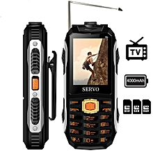 SERVO MAX 2.4 inch 4000mAh 3 SIM Card TV Antenna Voice Change Flashlight Power Bank Feature Phone