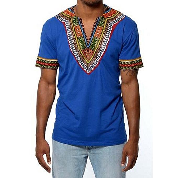 8765bdc52ab morio wear African dashiki print T-shirt - Royal blue   Best Price ...
