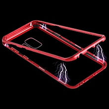 Magnetic Metal Frame Tempered Glass Care for Galaxy S9 (Red)