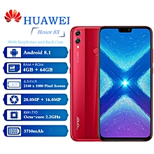 "HUAWEI Honor 8X 4G 6.5"" (4GB, 64GB ROM), Android 8.1  Fingerprint Sensor - RED"