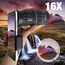 16x52 Zoom Hiking Concert Camera Lens Monocular Telescope + Universal Phone Clip
