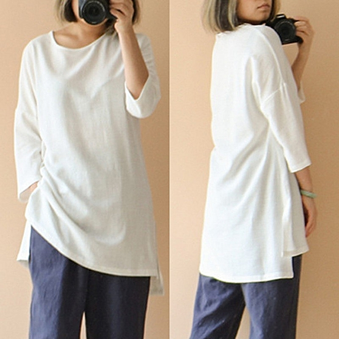 f7e22f2f10111c Fashion Womens 3 4 Sleeve Casual Solid Cotton Loose Shirt Tops Blouse T- Shirt