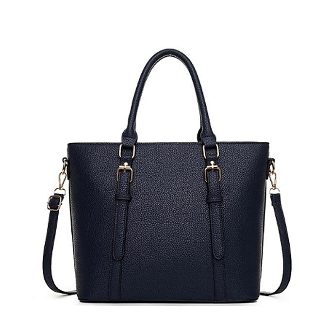 fcc8d07d3684 Generic Stylish   Elegant Leather Shoulder Bag Handbag-Navy BLUE ...