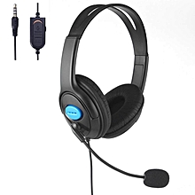 PS4 Wired Unilateral Headphone, 3.5mm Online Live Chat Gaming Headset With Microphone & Volume Control & Adjustable Headband For Sony Playstation 4 PS4 Slim, PS4 Pro Controller-Black JY-M