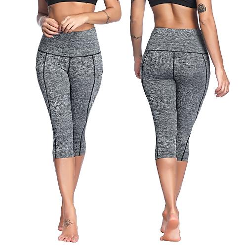 734d7fb6451a0 Generic Women's High Waist Capri Yoga Pants Tummy Control Workout Running 4  Way Stretch Yoga Leggings Tights with Pocket
