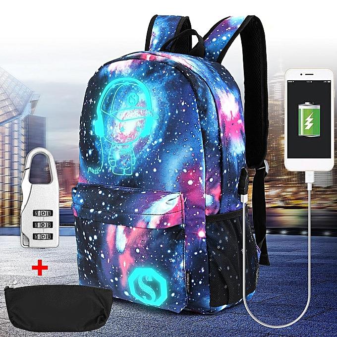 d671ccf2d8b6 Unisex Girl Boy s Galaxy Pattern School Bag Travel Backpack Canvas USB  Charger