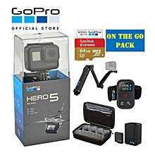 "GOPRO HERO 5 BLACK / HERO5 BLACK ""ON THE GO"" BUNDLE W/ 64GB CARD, REMOTE, 3 WAY GRIP & DUAL BATTERY CHARGER  WWD"