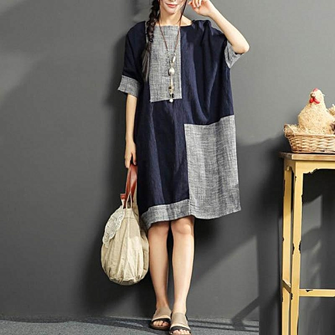 d0c6eebb5b ZANZEA Summer Women Vintage Color Patchwork O Neck Short Sleeve Cotton  Linen Loose Midi Dress Baggy