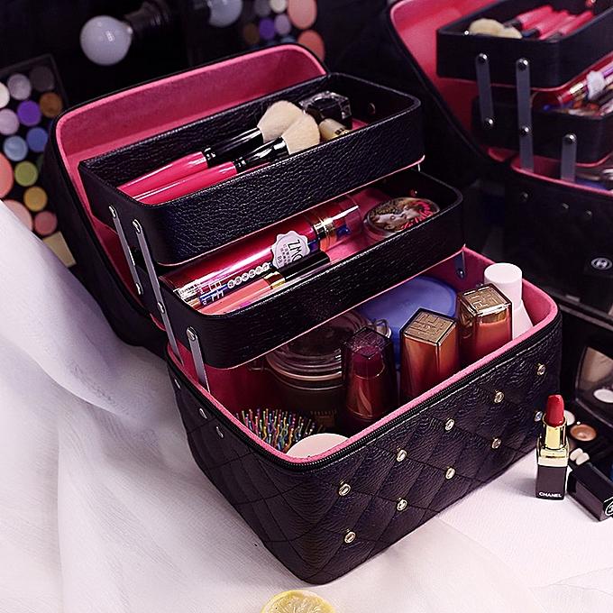 e6a21a984934 3 Layer Large Capacity Women Professional Makeup Case Diamond Stud Cosmetic  Box Travel Storage Case Organizer Vanity Beauty Case(3 Layers Black)