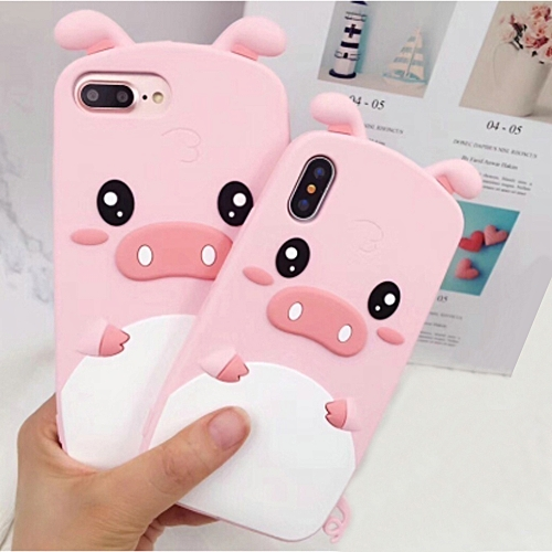 best choice f2f7d 68dd8 3D Cartoon Cute Pig Phone Soft Silicone Shockproof Protection Case Shell  For IP 6 For IP 7 For IP 8 For IP 6 plus For IP 7 plus For IP 8 plus For IP  X