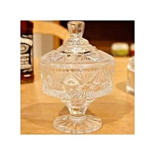 Clear Crystal Glass Sugar Dish - Pineapple Pattern