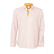 Orange Checked Shirt With An Orange Pocket Square