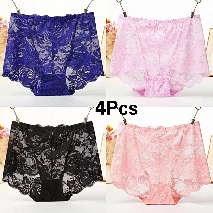 654a82a814 4Pcs Fancy Lace Brief Ladies Panties Traceless Women's Underwear