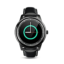 DM365 Bluetooth 4.0 Smart Watch MT2502A 360 360 IPS Full View & Leather Strap Pedometer Sleep Monitor For IOS & Android - Intl (Color:Black)