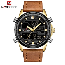NF9138 Sport Watches Men Leather Digital Quartz Analog Day Date Time Display Watch Waterproof Military Clock with Gift Box