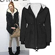 Ladies Hooded Parka Fleece Top Size M-XXXXXL Winter Warm Womens Long Jacket Coat