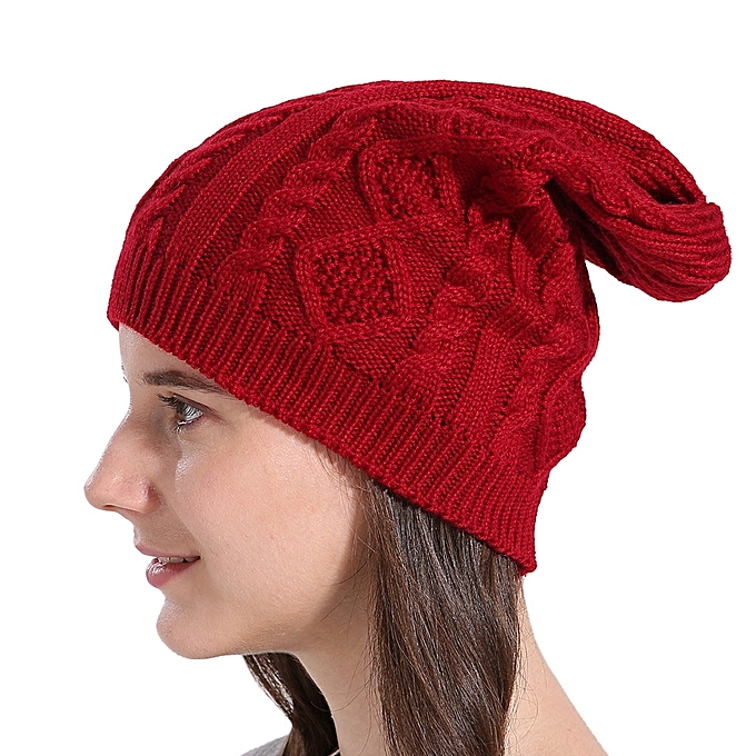 0e874c50b8a ... singedanWomen Baggy Warm Winter Wool Knit Ski Beanie Caps Hat RD -Red  ...