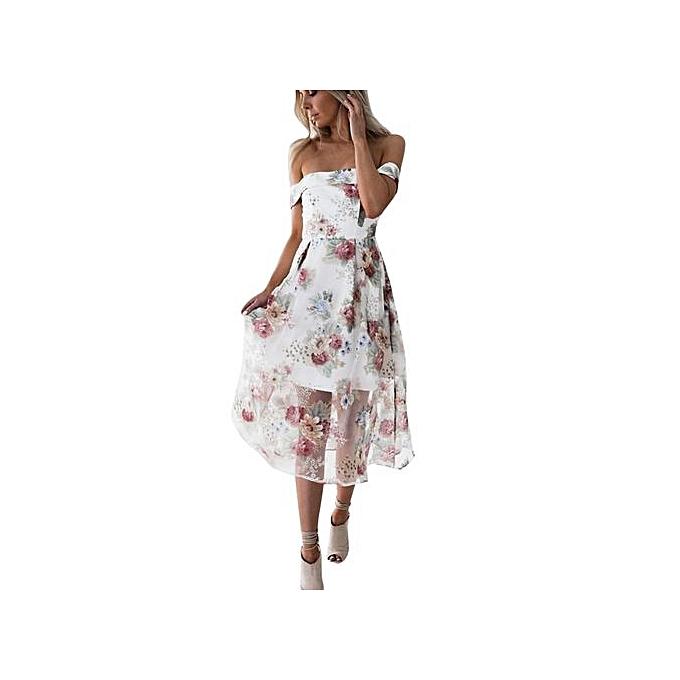 54e41bd84808d Hiaojbk Store Women Summer Off Shoulder Floral Printed Long Maxi  Dress-Multicolor