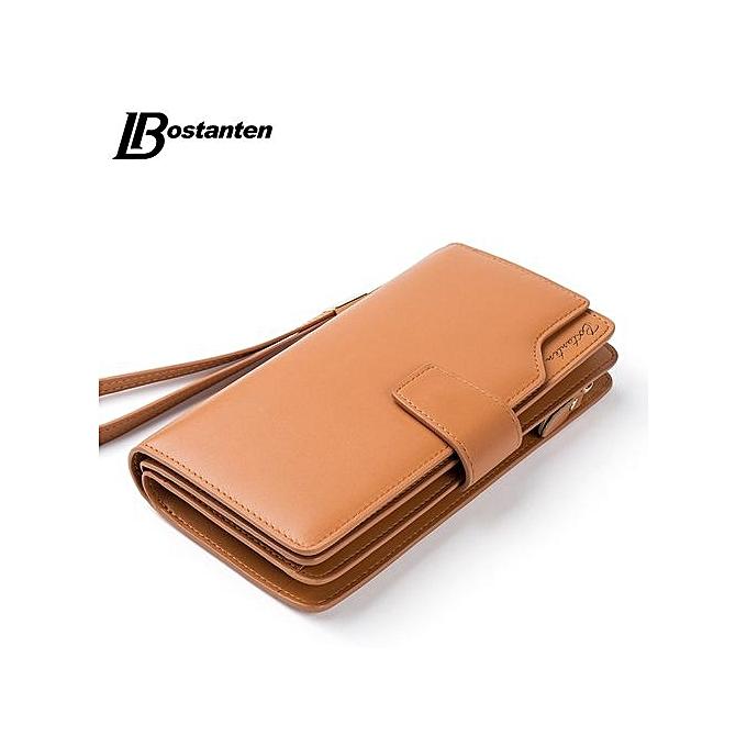 6028c72715d Bostanten Genuine Leather Women Wallets Luxury Brand 2017 Fashion Girls Purse  Card Holder Long Clutch BROWN