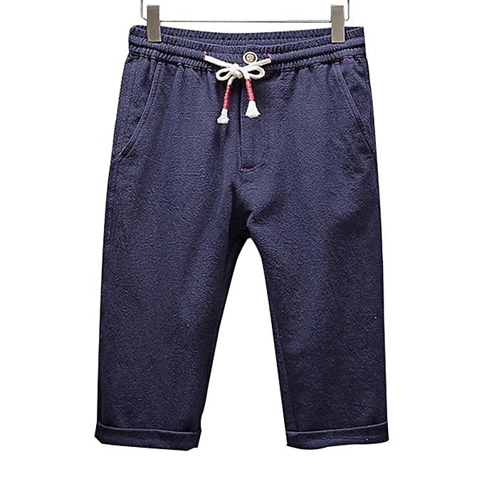 a08d284938 Mens Linen Cotton Antibacterial Breathable Calf-Length Pants Loose Casual  Homewear Shorts