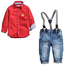 Kisnow 2 Pieces Boys' 0-5 Yrs Cotton Cartoon Shirts + Jeans Pant (Color:Main Pic)
