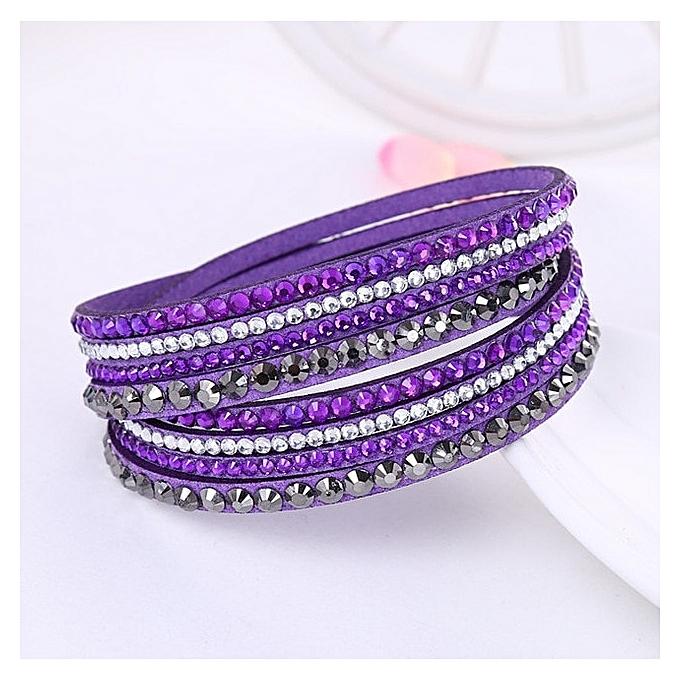 d8431ecda34b1 Women Multilayer Leather Rhinestone Crystal Wrap Bracelets(Purple)