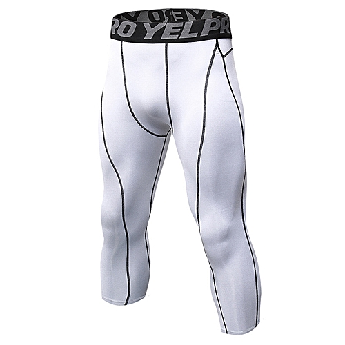 92f8cd54e9bd7 Men 3/4 Compression Running Tights Quick Dry Sports Jogging Pants Fitness  Gym Yoga Basketball Training Tights Athletic Leggings - white