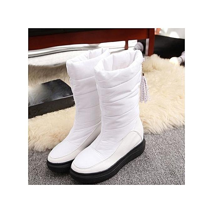 972964c1dd9 ... bluerdream-Winter Warm Snow Boots Cotton Shoes Flat Heels Knee High  Boots Women Boots WH ...