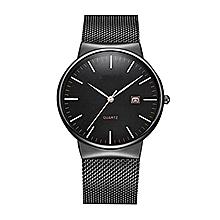 Men Date Display Classic Quartz Stainless Steel Wrist Watch-Black - Black