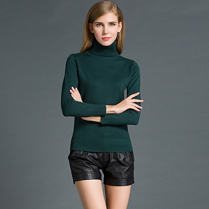 b32e9902dc2e21 Fashion Winter Women Sweater Knitwear Turtle Neck Long Sleeves Ribbed Knitted  Pullover Tops