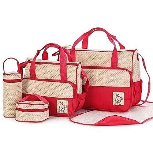 5 in 1 Diaper Bag- Red