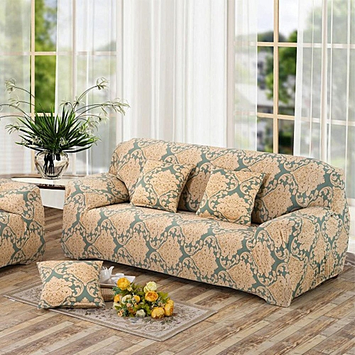 Incroyable 3 Seater Flower Fit Stretch Sofa Slipcover Couch Damask Fabric Protector Set