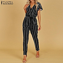 ZANZEA Women Plus Size Party Club Holiday Bib Pants Romper Playsuit Overalls Jumpsuit