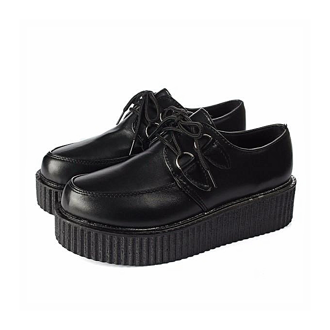 0b12584ab574 Trendy Womens Lace Up High Platform Creepers Flats Retro Goth Punk Casual  Shoes Black