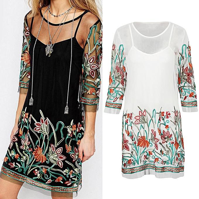 b14d3d9dbe ... Women Sexy Sheer Mesh Dress Flower Embroidery Spaghetti Strap Summer  Mini T-Shirt Dress Black ...