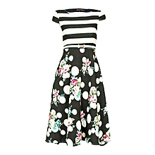 Black Striped And Floral Dress