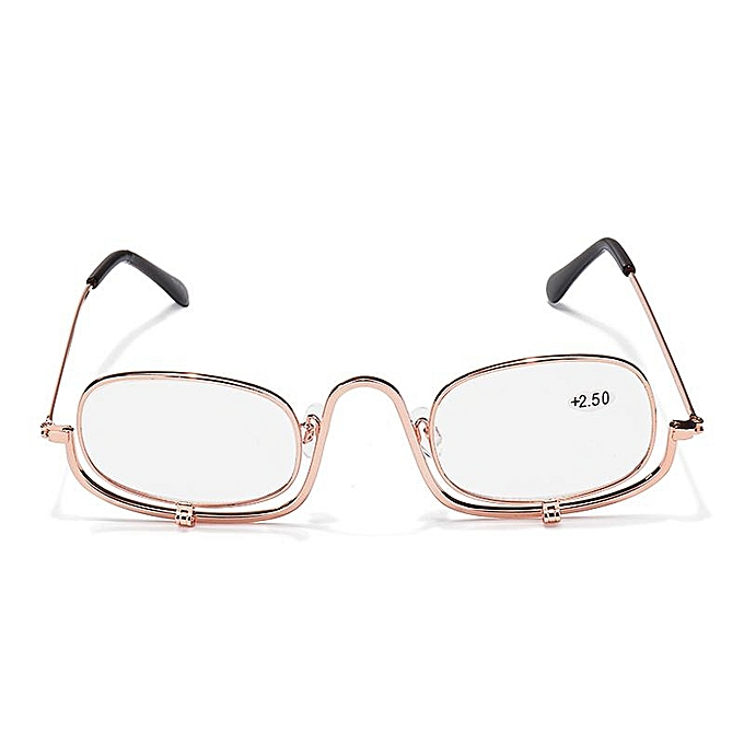 03b05ebaa94 ... 300 Degree Folding Magnifying Make Up Eye Reading Glasses Spectacles  Flip Down Lens ...