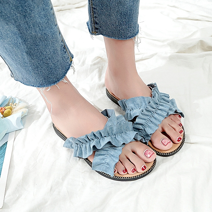 2f06d6cdc12 Fashion women's sandals open toe beach shoes Flat casual shoes Blue ...