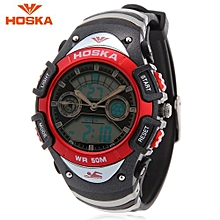 HD014S Dual Movt Kids Sport Quartz Watch Day Alarm Chronograph Display LED Digital Wristwatch-Red-Red