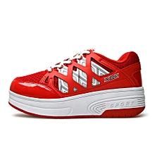 Children Roller Wheels Boy Gil Sneakers Two Wheels Girl Men Adult Sneakers RD/33-Red_CN SIZE