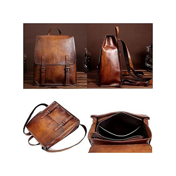 22a2fe25e70 Men Women Vintage Leather Backpack Shoulder Bag Travel School Bookbag  Rucksack