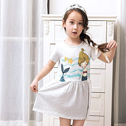 eea454b908 Summer Baby Girls Short Sleeve Casual T-shirt Dress with Cute Mermaid  Pattern gray for 9-10 year-old girls