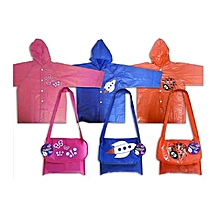 Boys Rocket School Raincoat With Carry Bag  Blue 96 cm