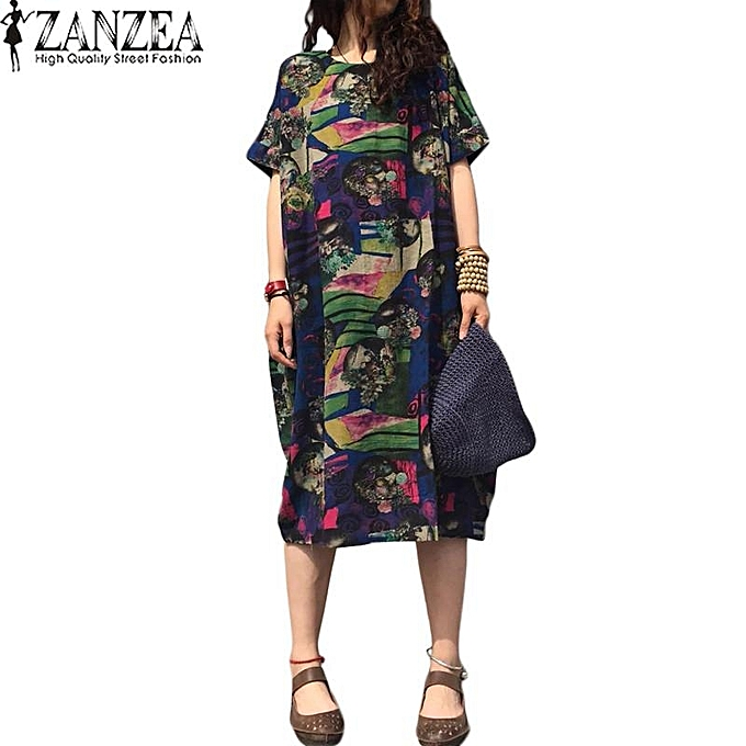 8b817e0c37f0 ZANZEA Summer Casual Loose Cotton Linen Oversize Floral Print Midi Dress  Women Vintage Short Sleeve Vestidos