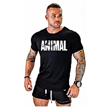 Hequeen Casual Shirts Round Neck Tops Men Gym Fitness Printing Letters Animal Bodybuilding Stringers Tank O-Neck T Shirt Muscle Training LME