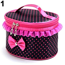 Portable Makeup Bag Bowknot Dots Toiletry Lace Cosmetic Organizer Holder Handbag-Black