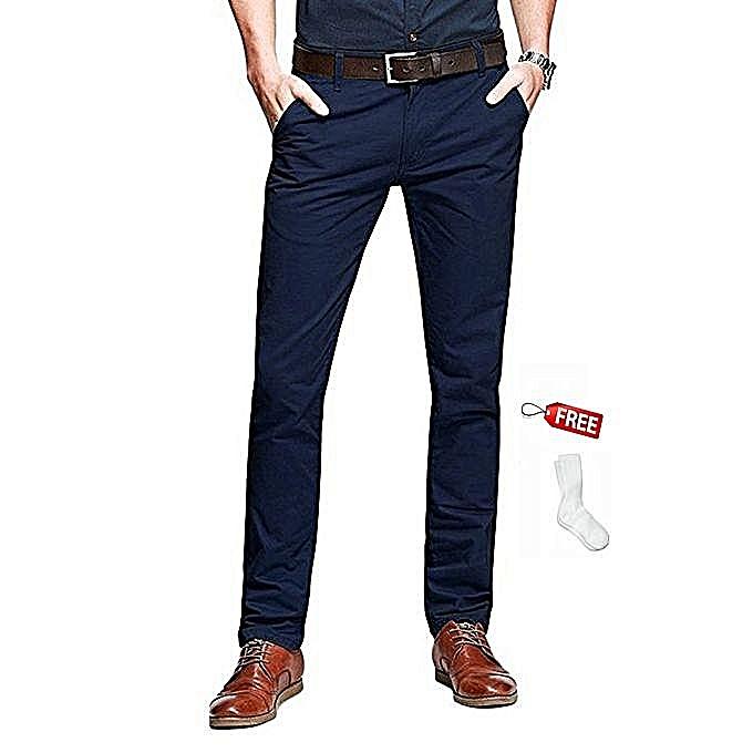 4361e534b33 Generic Men s Dark Blue Slim Fit Khaki Fashionable Trousers   Best ...