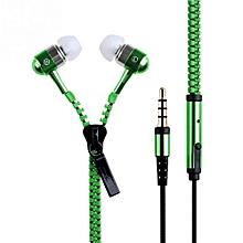 3.5mm In-ear Zipper Earphone Stereo Headset Handsfree Headphone With Mic Luxury Green