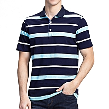 Summer Men's Comfort Cotton Golf Shirt Fashion Striped Turn-down Collar Short Sleeved Tops
