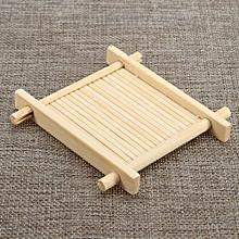 Bamboo Tea Cup Mat Square Handmade Cup Mat For Kungfu Tea Set Classic Coasters Pastoral Tea Tools Home Decoration